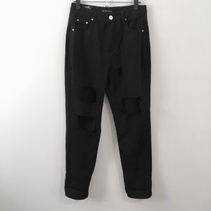 Black mom jeans with rips